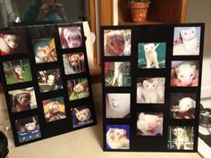 Photos cut to the size you want, glued onto black styrofoam board (Elmer's), and mod podge over the photos!