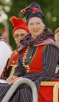 Queen Margrethe II of Denmark wearing the Rømø costume which was gifted to her by the National Folk Dance Association of Denmark.