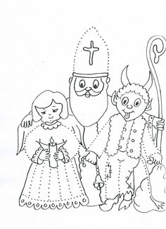 Omalovánka - Mikuláš, čert, anděl Preschool Worksheets, Free Coloring Pages, Christmas Time, Crafts For Kids, Religion, Activities, Winter, Inspiration, Devil