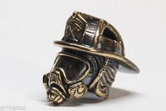 Collectible-Solid-Bronze-FIREFIGHTERS-HELMET-Bead-Knife-Axe-Paracord-Lanyard