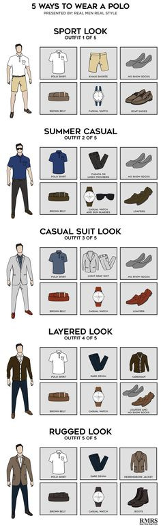 5 Ways to Wear a Polo maneiras de usar uma Camisa Polo Check out five ways to wear a polo shirt for different occasions and styles. Camisa Polo, Mode Man, Style Masculin, Le Polo, Trendy Fashion, Fashion Tips, Trendy Style, Fashion 2016, Mens Fashion Guide