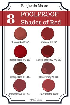 8 Foolproof shades of red paint - Home & DIY Red Paint Colors, Front Door Paint Colors, Exterior Paint Colors For House, Painted Front Doors, Bedroom Paint Colors, Paint Colors For Home, Room Colors, Colors Of Red, Red Front Doors