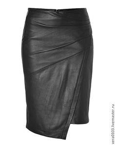 Купить Кожаная юбка Ассиметрия - черный, юбка, натуральная кожа