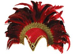 Stunning feather plume helmet in Red & Gold Burlesque Outfit, Burlesque Costumes, Halloween Costumes, Moulin Rouge Outfits, Feather Headdress, Animal Masks, Black Feathers, Showgirls, Costume Dress