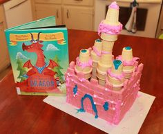 Strawberry wafer castle to swallow just like the dragon from THERE WAS AN OLD DRAGON WHO SWALLOWED A KNIGHT by Penny Parker Klostermann and Ben Mantle.