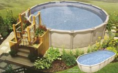 Pool. Charming To Beautify Your Home Page With Exceptional Deck Pool Design. Small Cute Above Ground Pool Deck Design Ideas With White Round Frame Pool And Yellow Small Cute Deck Pool Plus Ornamental Planter As Decorations. Above Ground Pool Decks