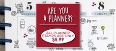 Like to decorate your planner? Technique Tuesday has all kinds of planner stamp sets for just $5.99  each. Stop by TechniqueTuesday.com to see them all. Lots of themes available!