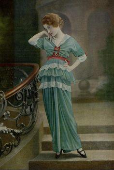 Les Modes - January 1914 Robe de diner - Doeuillet.  #Downton #Fashion