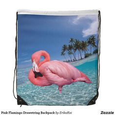 """Pink Flamingo Drawstring Backpack. 100% polyester. Dimensions: 14.75"""" x 17.3""""."""