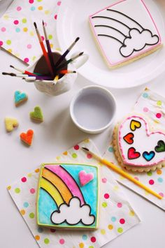 Rainbow Unicorn Birthday Party Cookies - these are a party activity as well as a party favor