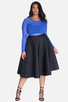 Plus Size Super Scuba Flare Midi Skirt