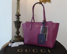 053a0275922 Gucci Small Swing Tote in Bicolore Heather Rose  amp  Blue Calfskin  gt   https