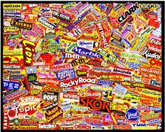 Etude (Candy Logos A to Z), 2002 Original collage X created for show at Dylan's Candy Bar in NYC Marion Ross, Candy Logo, Dylan's Candy, Sweet Logo, Candy Wrappers, Favorite Candy, Perler Patterns, Chocolate Factory, Chocolate Truffles