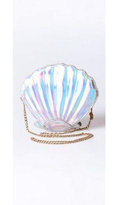 Silver Iridescent Seashell Crossbody Purse