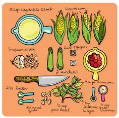 Corn, Tomato, Zucchini and Basil Soup