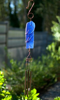 Cobalt Blue Sea Glass Wind Chime Brass Chimes Handcrafted - Coast Chimes - 1