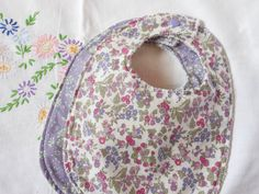 Set of 2 Liberty Bibs in Purple - Towel Backed on Etsy, £14.00
