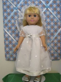 white 1st communion/bride dress with veil by HomeSewnbySwiderski, $20.00