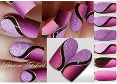 #nail Purple Nail Art, Pink Nails, Glitter Nails, Purple Glitter, Fancy Nails, Trendy Nails, Gel Nagel Design, Super Nails, Nail Art Galleries