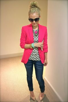 Love the polka dots with pink blazer