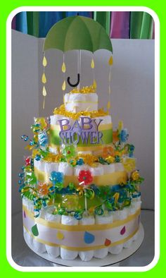 Diaper cake umbrella sucker unisex/boy/girl baby shower gift set