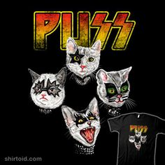 KISS parody T-Shirt by Dina Prasetyawan aka Kooky Love. Funny Cat Jokes, Cat Memes, Banda Kiss, Kiss Art, Band Wallpapers, Cat Character, Hot Band, Arte Horror, Band Posters