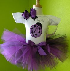 #MC Purple Sparkle Ladybug Birthday Tutu Outfit Set by PoshBabyStore.com
