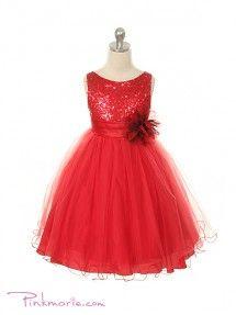 Red Elegant Stunning Sequined Bodice Girl Dress