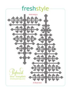 Chart for a 6 foot and an 8 foot across stitch Christmas Trees from Fresh Style Magazine, November/December 2013 issue.