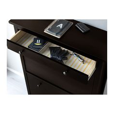 HEMNES Shoe cabinet with 2 compartments, black-brown black-brown 35x50