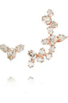 b93783343 Ryan Storer - Rose gold-plated Swarovski crystal ear cuff and stud earring