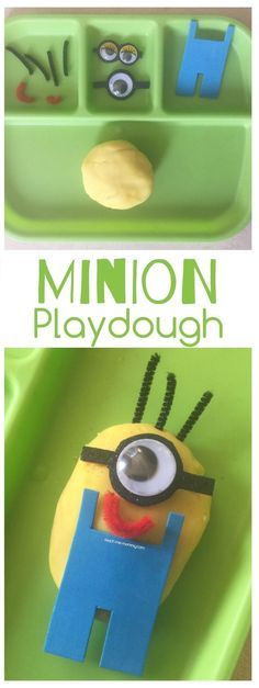 Minion Playdough, invitation to play and build a minion with playdough! #justplayathome