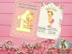 First Birthday Invitation Digital Invitation Digital Personalized Invitations, Digital Invitations, Cute Baby Girl, Cute Babies, First Birthday Invitations, Party Printables, First Birthdays, Baby Shower, Girl Stuff