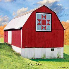 Ohio Star Quilt Barn Magnet