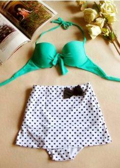 Love the Bikini! <3  #bikini #vintageswimsuits #vintageretrobikini #swimsuits #highwaistbikini #polkadotbikini