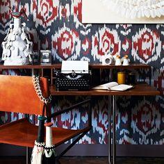 Wohnideen Arbeitszimmer Home Office Büro - Büro zu Hause mit gemusterten Tapeten