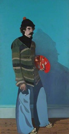 Self Portrait with Red Palette (diptych, right panel) by John Byrne