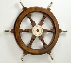 "18"" Wooden Ship's Wheel with Brass Spokes, Unique Nautical Gifts, Beach House Decor & Wall Hangings"
