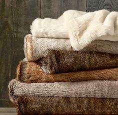 RH faux fur blankets