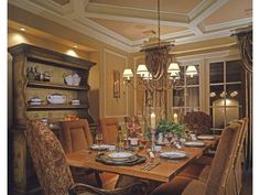 French Country (1) home, Dining Room *see ceiling and overall tall ceilings on the first floor