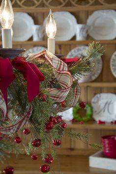 Farmhouse Christmas ~ Decorated Chandelier