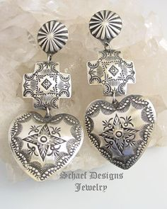 Vince Platero Stamped Sterling Silver LONG Square Cross & Heart Long Dangle POST Earrings | Schaef Designs | New Mexico