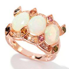 NYC II 2.87ctw Opal, Multi Colored Tourmaline & White Zircon Ring