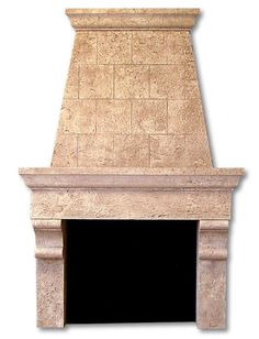 Cast Stone Fireplace Surround | Overmantel Travertine limestone sandstone custom design and sizing available www.fireplacechicago.com