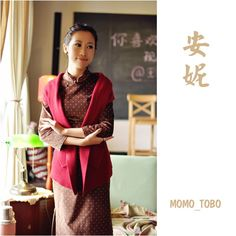 Spot Pattern Long Cotton Cheongsam Dress Red