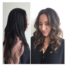 Before and after A little #balayage action on previously Japanese straightened hair with beautiful results and no damage to the hair thanks to @olaplex  beautiful cut and style by @nicolejpascual ✂️✂️ #erickohair #perfecthaircolor #perfecthair #sombre #ombre #highlights #olaplex #beautifulhair #gorgeoushair #hairpost #hairgram #lahair #beverlyhillshair #sexyhair #hairideas #loreal