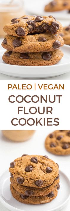 These coconut flour cookies with chocolate chips have the perfect texture and taste just like traditional chocolate chip cookies! This recipe is paleo with a vegan option. These coconut flour Coconut Flour Cookies, Coconut Flour Recipes, Gluten Free Cookie Recipes, No Flour Cookies, Paleo Cookies, Gluten Free Desserts, Yummy Cookies, Vegan Desserts, Delicious Desserts