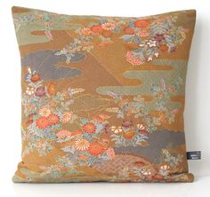 NEW LTD EDITION Autumnal Elegant Double Sided Floral Cushion made from Vintage Japanese Kimono Silk + fat feather pad 35x35cm