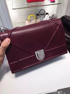 Authentic Dior Diorama Calfskin Shoulder Bag Burgundy