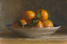 Daily Painting by Julian Merrow Smith. A bowl of clementines